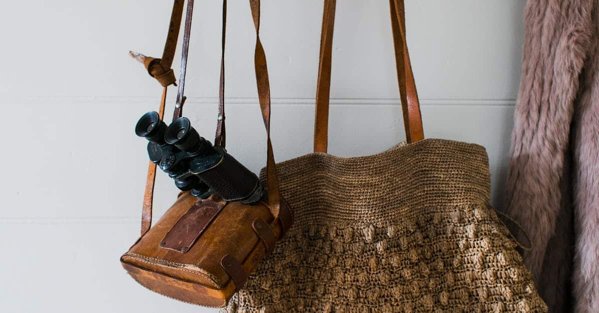 A bag sitting on top of a wooden table
